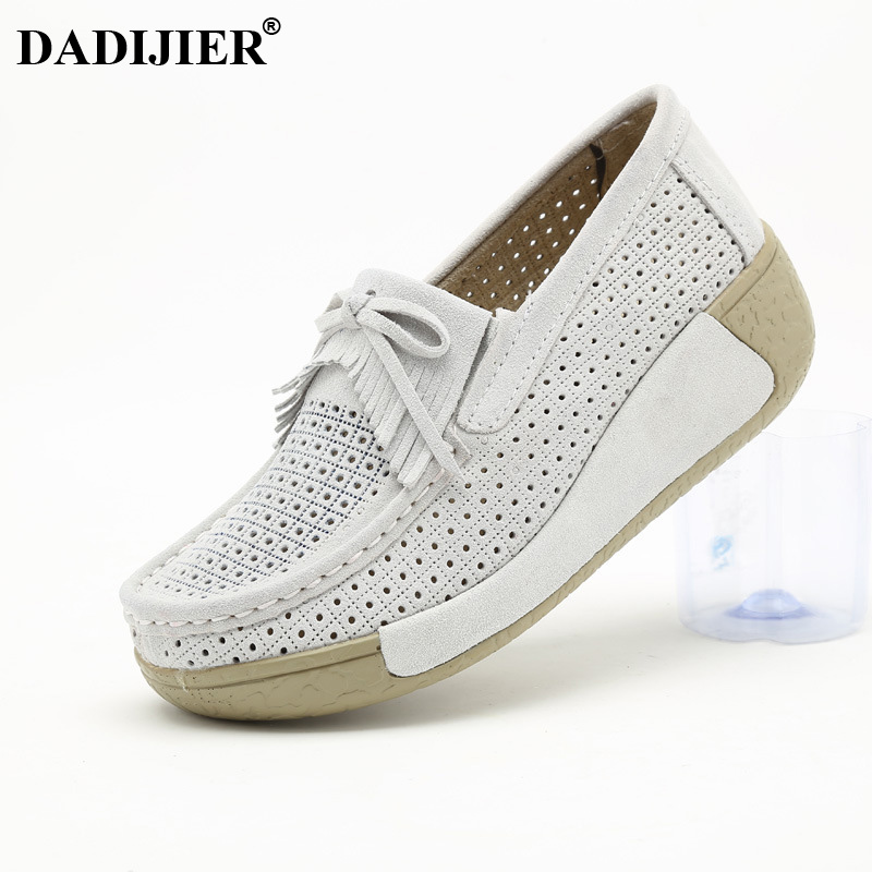DADIJIER 2018 Women Flats Shoes Tassel Fringe Platform Shoes   Leather     Suede   Casual Shoes Slip On Flats Thick Bottom Footwear JH90