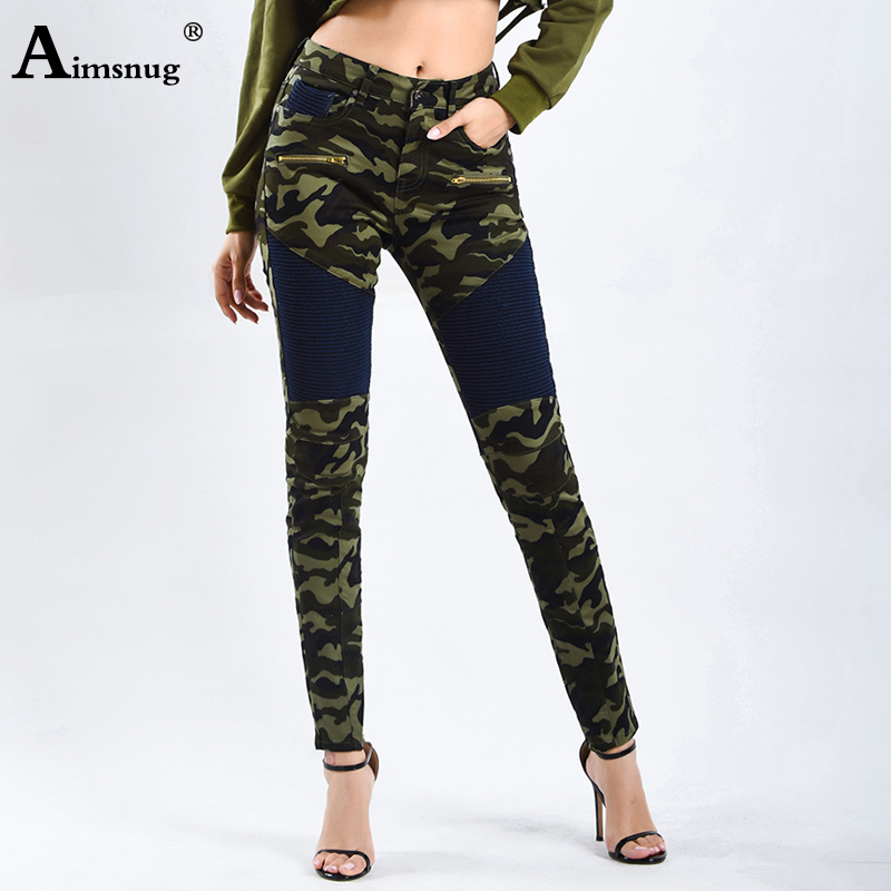 Aimsnug Elasticity Camouflage green Women 39 s Motorcycle Biker Zip Mid High Waist Stretch Denim Skinny Pants Motor Jeans For Women in Jeans from Women 39 s Clothing