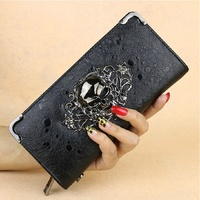 ONEFULL Punk Style leather wallet women wallets Clutch Handbag Rhinestone Spider Skull Bag hasp coin purse pocket wallet brand