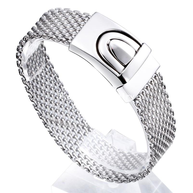 Free Shipping New Punk Design Silver/Gold Tone Adjustable Belt Buckle Bracelet 316L Stainless Steel Bracelets Bangles Men Women