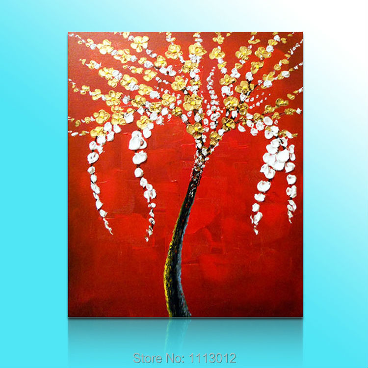 Hot Sale Abstract Hand Painted Yellow White Tree Oil Painting On Canvas Home Decoration Modern Wall Picture For Living Room Sale