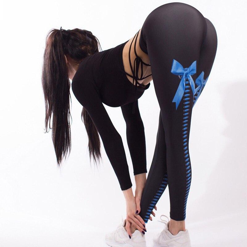 2018 Bow Knot Digital Print   Leggings   Sexy Hip Pencil Pants High Waist Elastic Slim Long Trousers Sexy Pant Women   Leggings