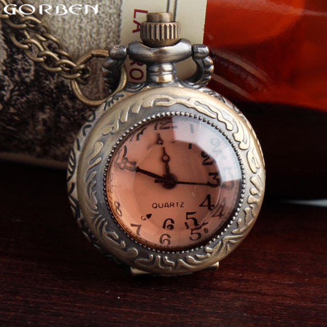 2017 new fashion glass case small quartz fob pocket watch with necklace pretty g