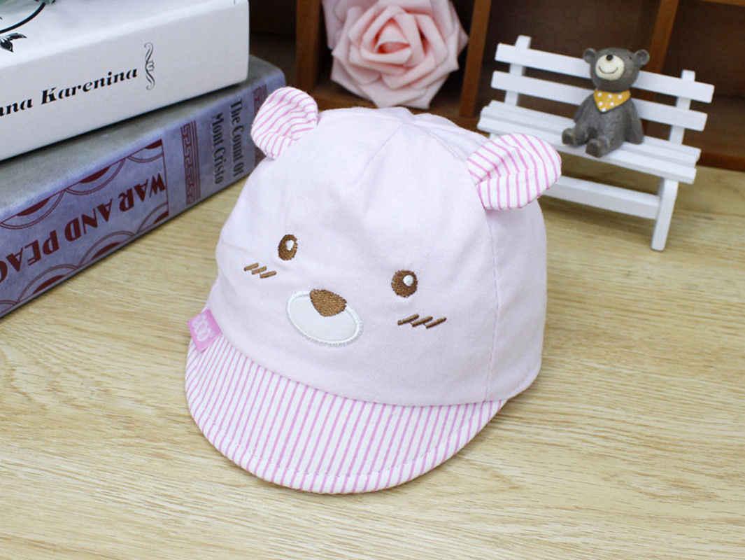 Słodki miś dziecko nowonarodzone dzieci dziewczyna chłopiec czapki z daszkiem w paski czapki kapelusz słońce z ucha niebieski różowy czerwony żółty