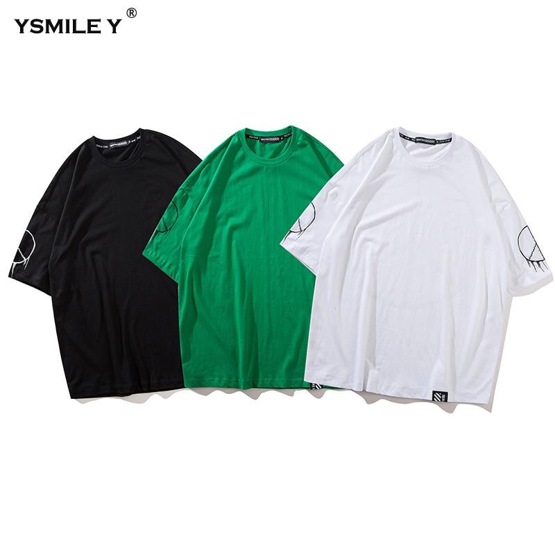 Harajuku Men Summer Personality Street Dance O-neck Tshirt Letter Print Loose T Shirt Casual Male White/Black/Green Tops Tshirts