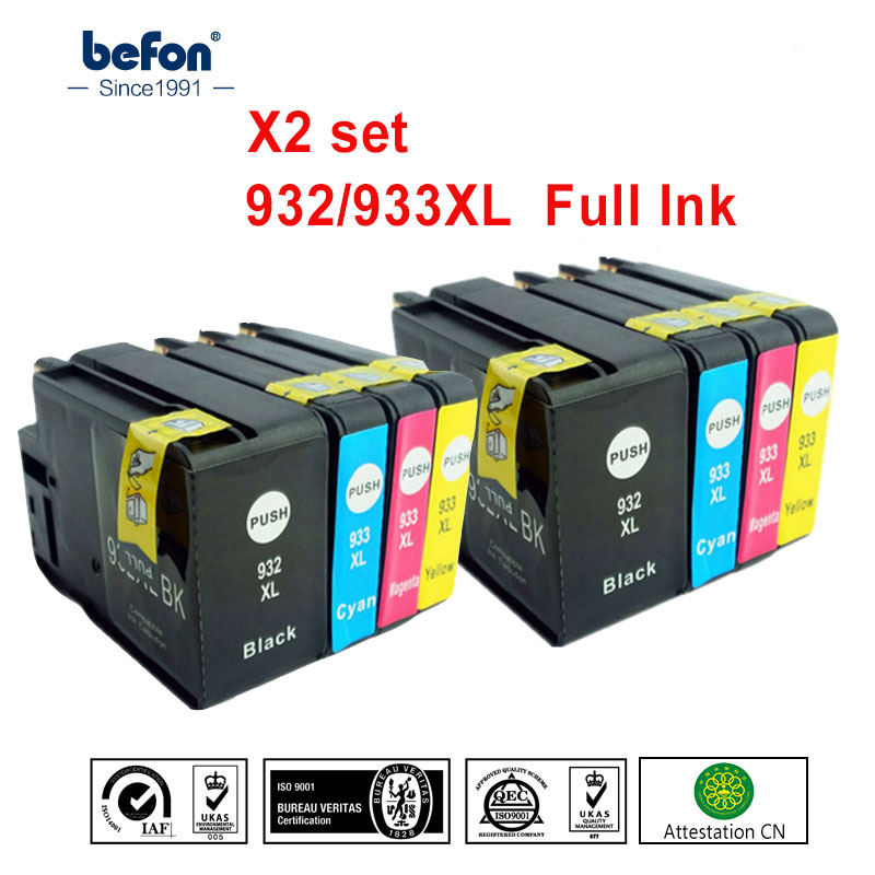 befon X2 set 932XL 933XL Cartridges Replacement for HP932 HP933 HP 932 933 Ink Cartridge for Officejet 6100 6600 6700 7110 7612 5 pack compatible ink cartridge replacement for 932 933xl for officejet 6100 6600 6700 7110 7610 7612 h611a h711a h711n