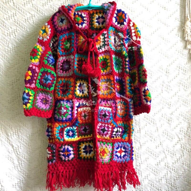 Женское пальто из 100% шерсти, свободная верхняя одежда с длинным рукавом и ручной работы, Свитера с капюшоном большого размера, 2019