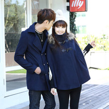 2017 Winter Lovers Wool Blend Coat Long Trench Outwear Woolen Coat Blazer Fashion Cashmere Warm Fur Collar Hooded Jacket GJL38(China)