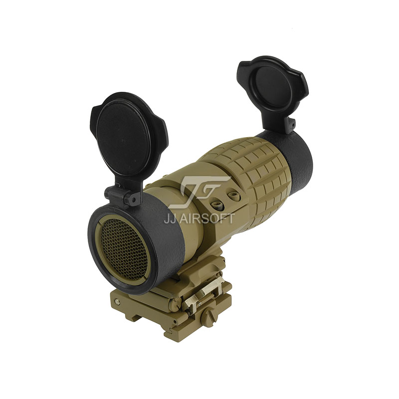 JJ Airsoft 4x FXD Magnifier with Adjustable QD Mount and Killflash / Kill Flash (Tan) jj airsoft t1 t 1 red dot 45 degree offset mount qd mount and low mount tan