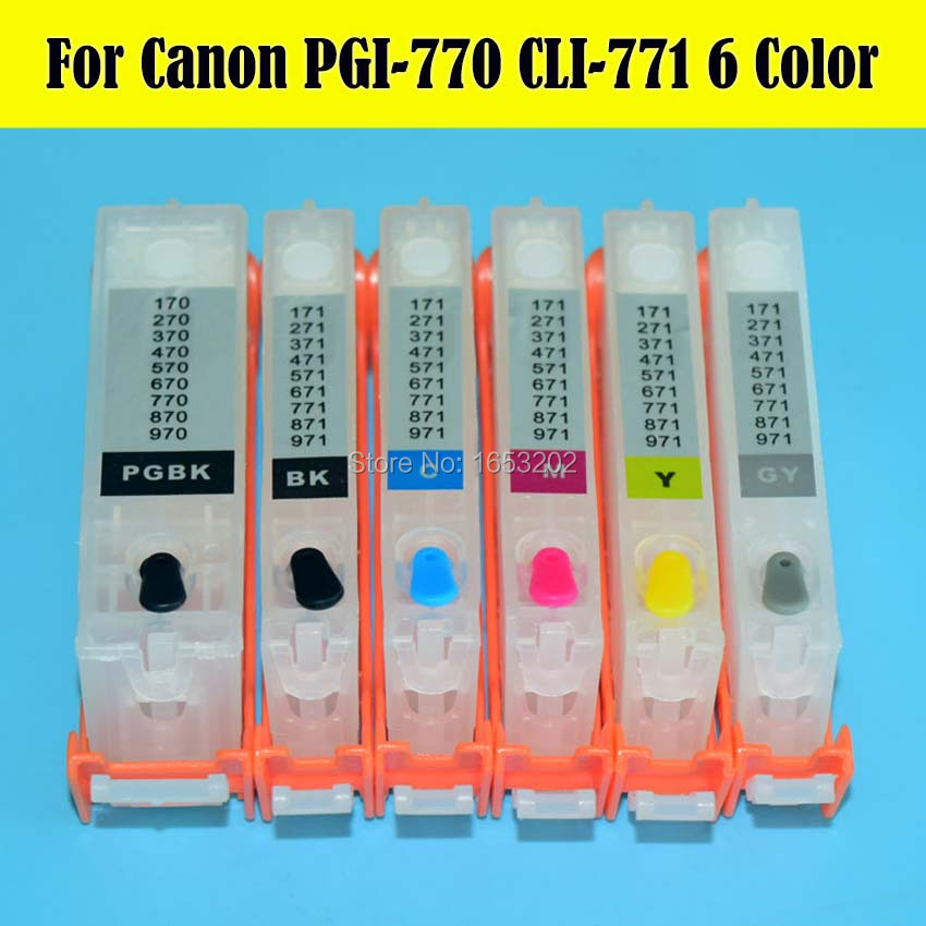 ФОТО 6 PCS/Set PGI-770 CLI-771 Refill Ink Cartridge For Canon For PIXMA MG7770 Printer With Permanent Chip