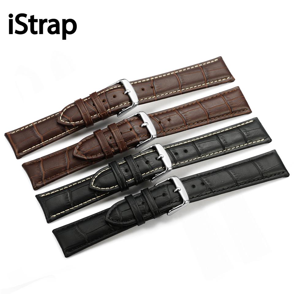 Prix pour Istrap 12 13 14 16 18 19 20 21 22 24mm réel veau bracelet en cuir pour heures noir brun grain alligator bracelet pour iwc montre bande