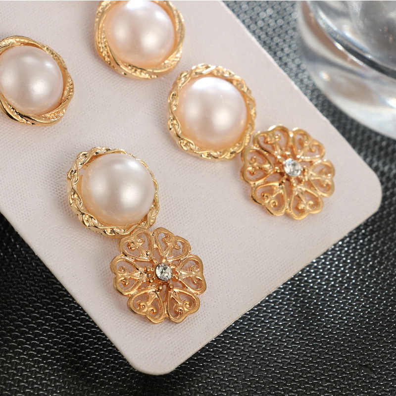 Hot Sale Crystal Round Gifts Golden Women Flower Retro Pearl Party Beautiful Stud Earring Graceful Fashion Jewelry 6Pairs/set