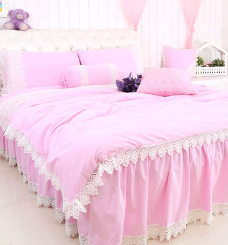 Princess lace pink gray purple yellow orange bedding sets,twin full queen cotton home textile bed skirt pillow case duvet cover