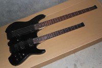 Double neck guitar 6 strings steinberg electric guitar 4 string bass metal black color headless guitar with hardcase