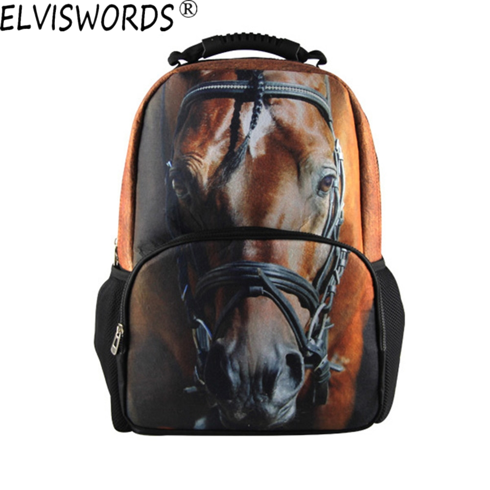 ELVISWORDS Fashion Style Lovelife Horse 3D Printing Backpack Teenagers Mochilas Schoolbags for Children Best Gifts for