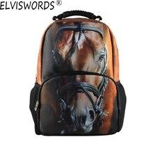ELVISWORDS Mode-stil Lovelife Pferd 3D Druck Rucksack Jugendliche Mochilas Schultaschen für Kinder Besten Geschenke für Jungen Bolsa