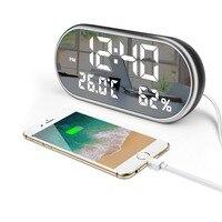 JULY'S SONG USB Digital Clock Mirror LED Alarm Clock Electronic Night Lights Humidity Thermometer Lamp Desk Clocks Despertador