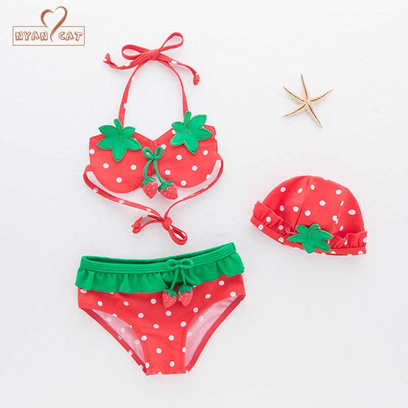 847e4f9d99a80 New Baby girls swimsuit infant toddler kids children fashion strawberry  fruit swimwear hat+bra+