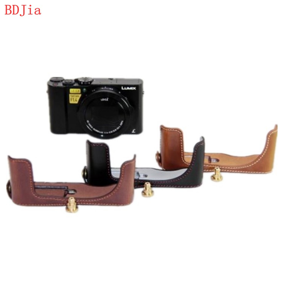 NEW ! Fashional Camera Bag Case For Panasonic LX10 PU Leather Half Body Set Cover With Battery Opening, Free Shipping