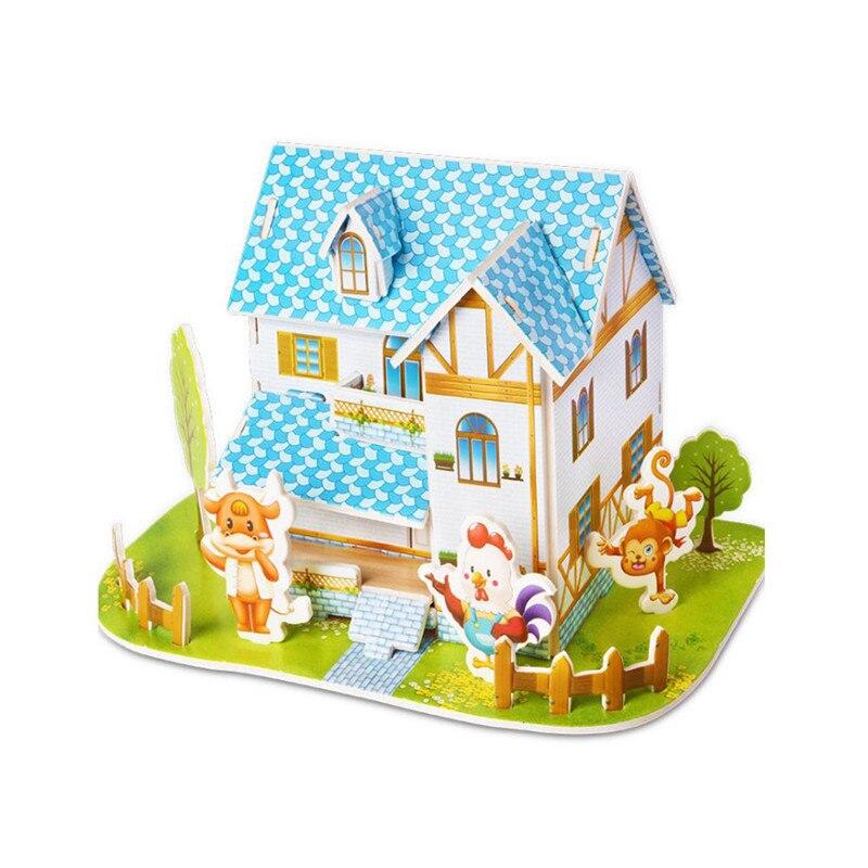 Бумага паззлами раннего обучения Строительная сборка детей украшения дома английские детские игры раннее образование игрушки - Цвет: YJL80928766A