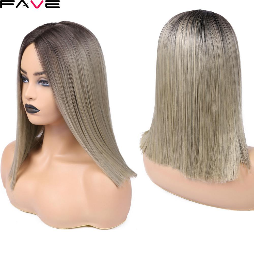 FAVE <font><b>Short</b></font> Straight Ombre Bob Black Ash Flax Brown <font><b>Pink</b></font> Synthetic <font><b>Wigs</b></font> For Black Women 12 Inch Middle Part Glueless Cosplay <font><b>Wigs</b></font> image