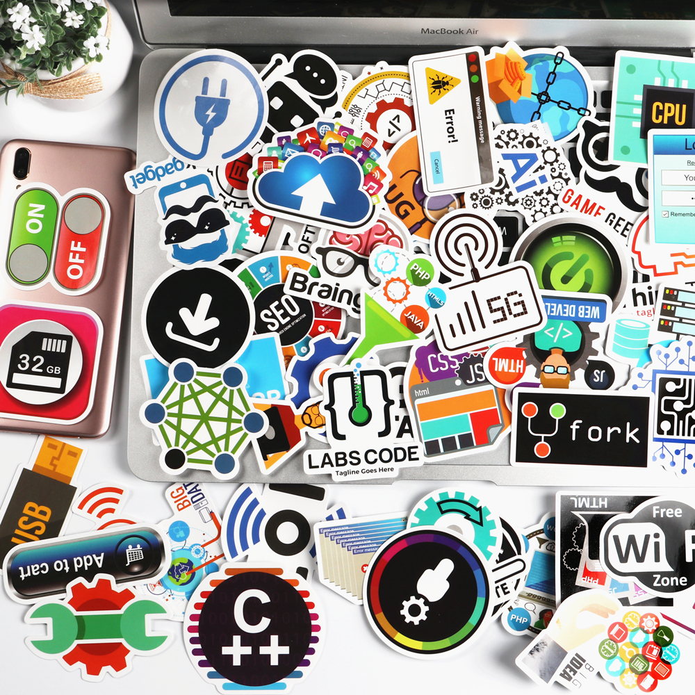 50 Pcs Internet IT Software Programming Language APP Logo Bug Cool Stickers For Laptop Car DIY Stickers