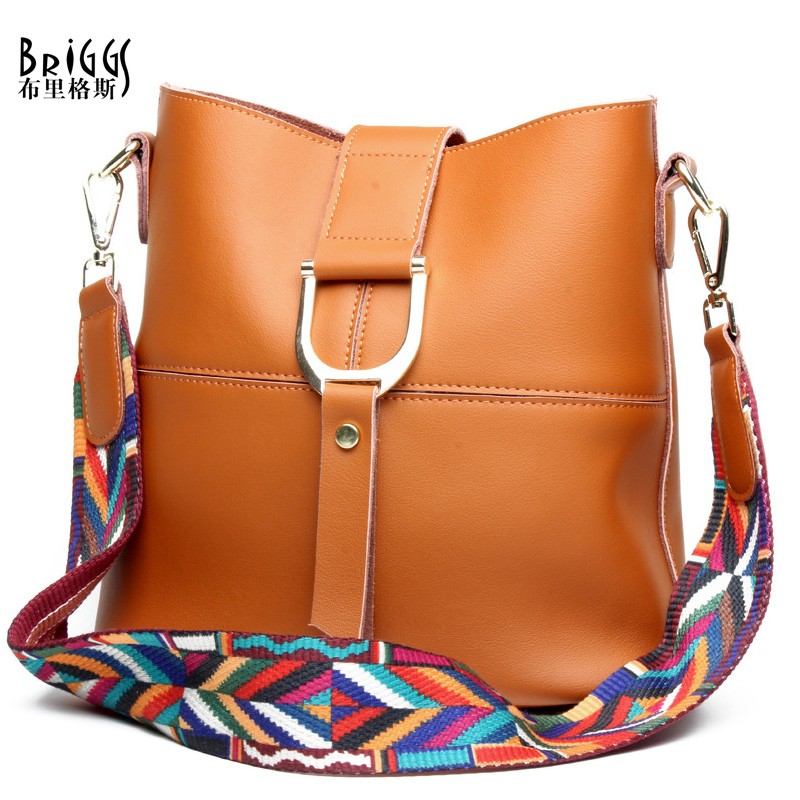 BRIGGS Brand Fashion Composite Bag Solid Genuine Leather Women Shoulder Messenger Bag Colour Woven Strap Crossbody Bag For Women simple style solid colour and zip design shoulder bag for women