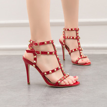 Women's PU Leather High Heel Shoes Summer Open Toe Thin Stiletto Heel Sandals Rivet Ultra High Heel Pumps