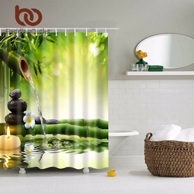 BeddingOutlet Polyester Bamboo Shower Curtain Zen Decorating Ideas Natural For Bathroom 71 x 71 Inch 180 & BeddingOutlet Polyester Bamboo Shower Curtain Zen Decorating Ideas ...
