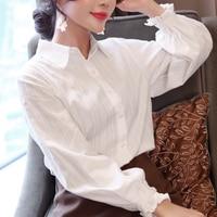 Office Blouses Women Lantern Sleeve White Turn Down Collar Button Shirts Female Elegant Top 2018 Spring