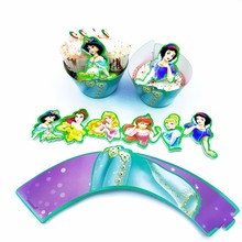24pcs Cupcake Wrappers Topper Six Princess Snow White Mermaid Cinderella Dress Girl Kids Birthday Wedding Party Cake Decoration(China)