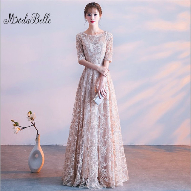 Modabelle O-neck Khaki Half Sleeves Flowers A-line Vintage Elegant Lace Up  Party Frocks Dresses Floor Length Evening Dresses 38f75e143a02