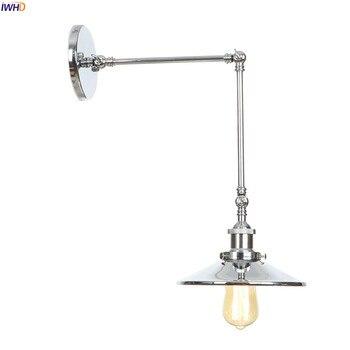 Vintage Badezimmerleuchten   IWHD Silber Industrielle Vintage LED Wand Lampe Schlafzimmer Wohnzimmer Schaukel Lange Arm Loft Stil Retro Wand Leuchten Wandlamp