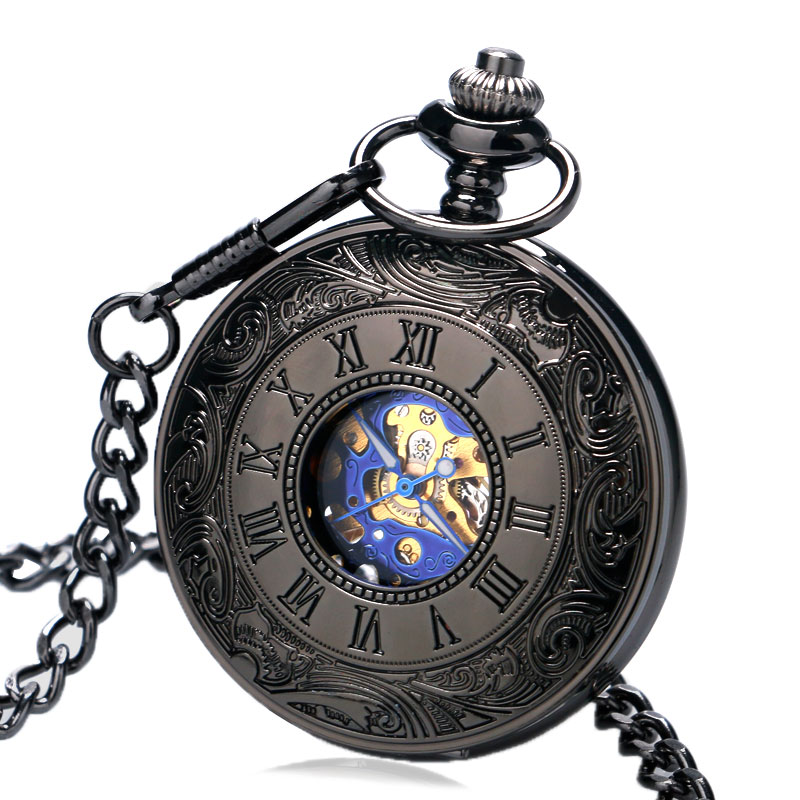 Fob Pocket Watches Mechanical Hand Winding Luxury Hollow Case With Cool Blue Dial Skeleton With Chain Accessory Gift Men Women