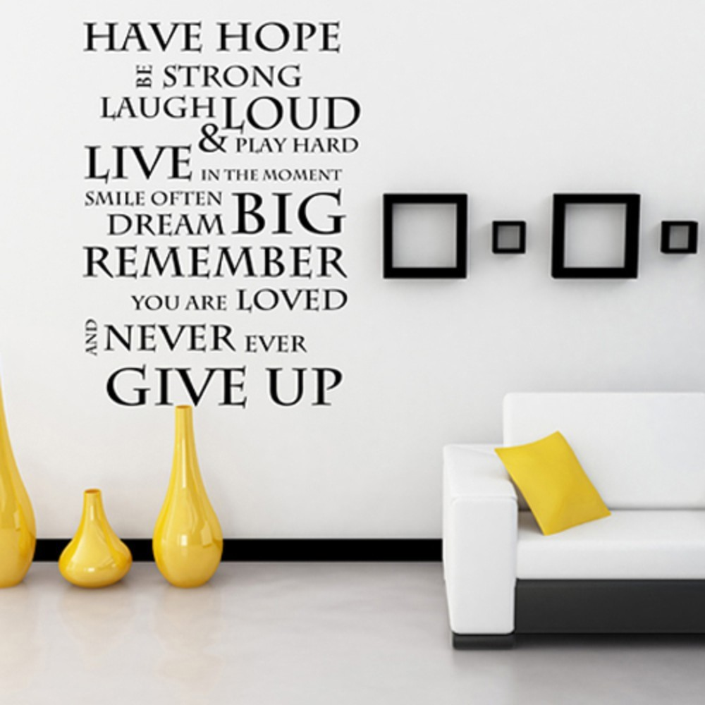 Have hope never give up inspirational wall stickers wall decals have hope never give up inspirational wall stickers wall decals wall quotes vinyl mural poster 32 x 44 m in wall stickers from home garden on amipublicfo Image collections