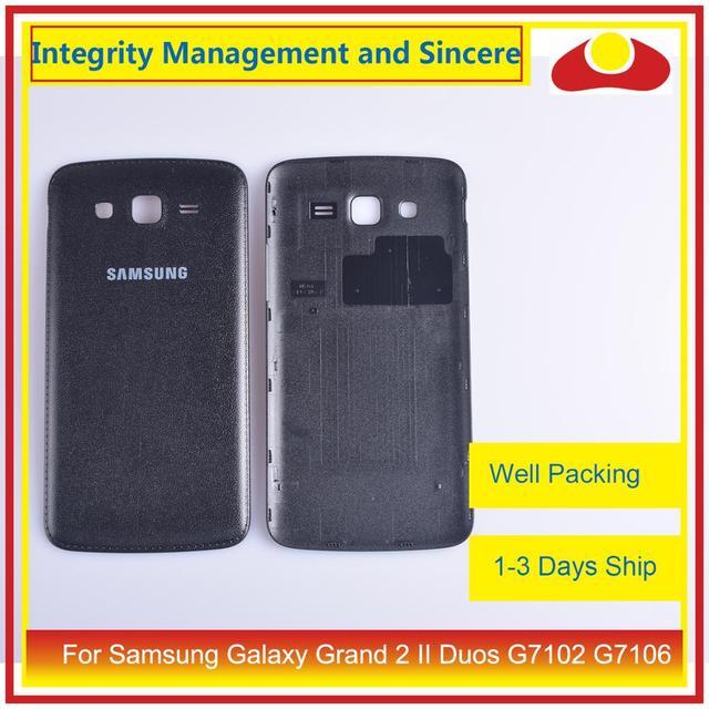 10 pçs/lote para samsung galaxy grand 2 ii duos g7102 g7106 habitação porta da bateria traseira capa caso chassi escudo substituição
