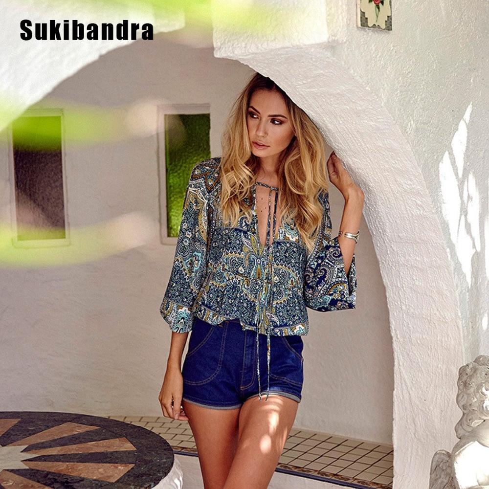 Sukibandra Summer Casual Women Long Lantern Sleeve V Neck Tops Floral Paisley Print Ladies Boho Chic