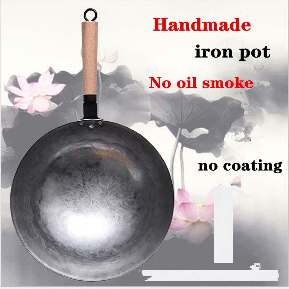 Woks chinois fer Wok traditionnel fait à la main fer Wok poêle antiadhésive Non-revêtement cuisinière à gaz ustensiles de cuisine de haute qualité