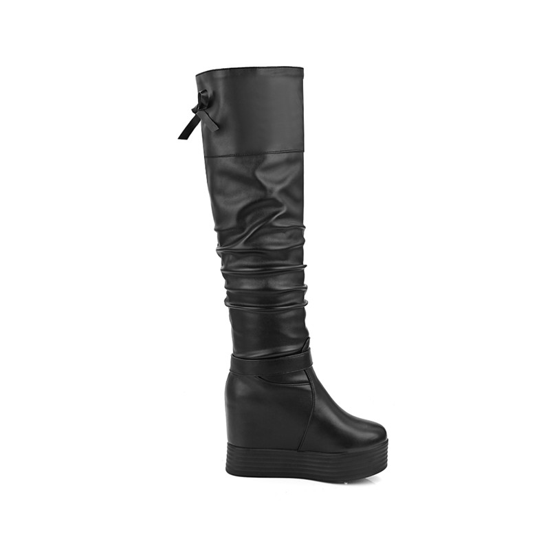 MORAZORA Big size 34-43 over the knee boots height increasing women boots female fashion shoes platform boots PU solid bowtie