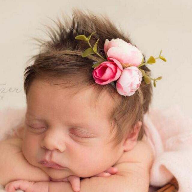 New Girls Flower Headband Newborn Rose Hair Band Headwear Eco children Tieback Baby Photography props new baby hair bands flower headband newborn girls hair band headwear handmade diy hair accessories children photography props