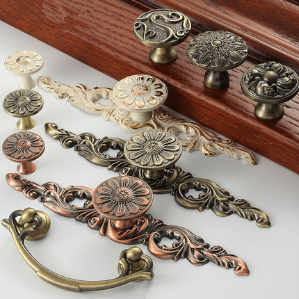 Big Size Antique Copper Europe Style Cabinet Handle And Knob