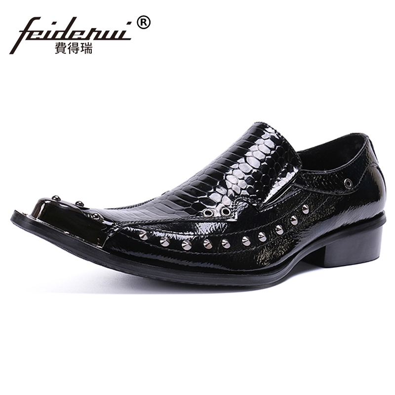 Plus Size Italian Pointed Toe Slip on Studded Man Wedding Loafers Patent Leather Handmade Alligator Men's Casual Shoes SL442