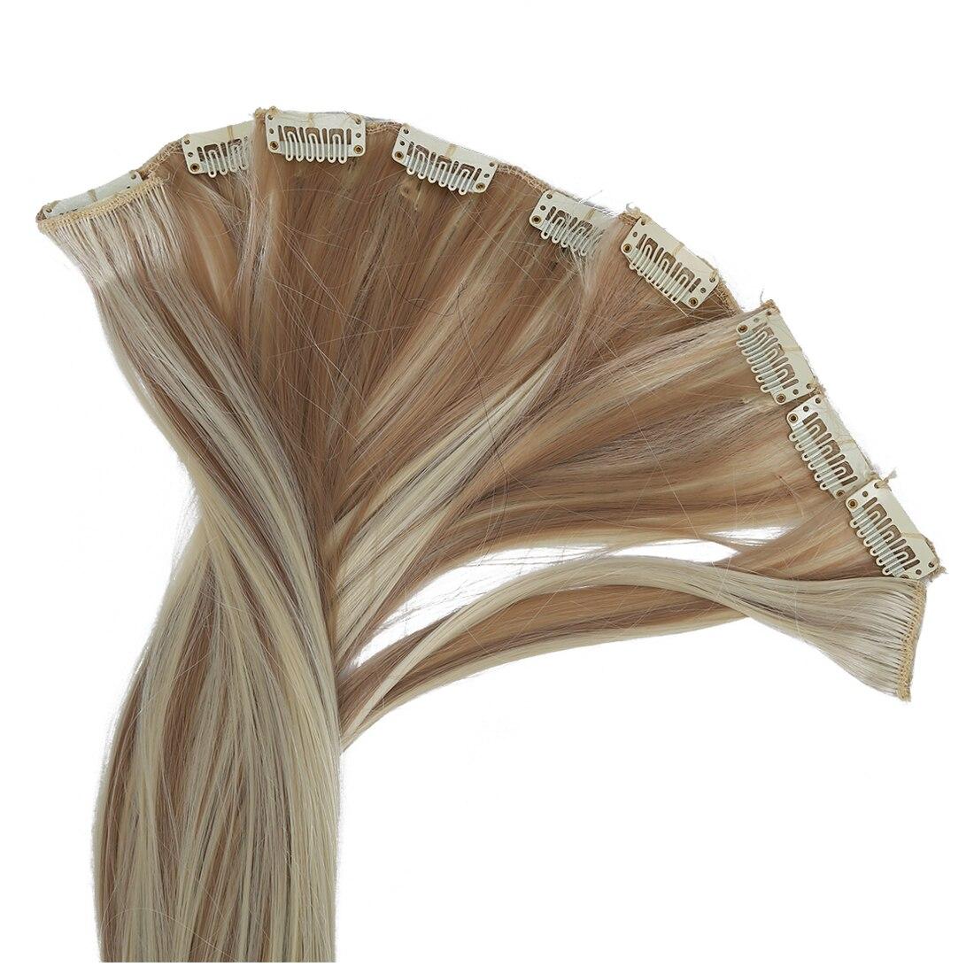 8 х 18 #18/613 блондинка подчеркивается прямые Полный Head Синтетические пряди для наращивания волос
