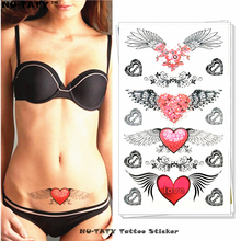 Nu-TATY Angel Wings Love Heart Temporary Tattoo Body Art Arm Flash Tattoo Stickers 17x10cm Waterproof Fake Henna Painless