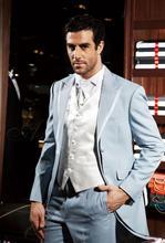 Latest Coat Pant Designs Italian Light Blue And Silver Trim Tailcoat Formal Groom Custom Suit 3 Pieces Tuxedo Masculino C