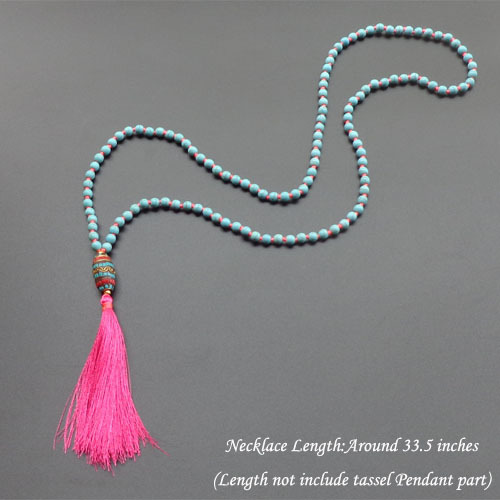 Natural Stone beads long Necklace Classic Nepal Bead Tassel Necklace Hand knotted boho necklace for women jewelry цена