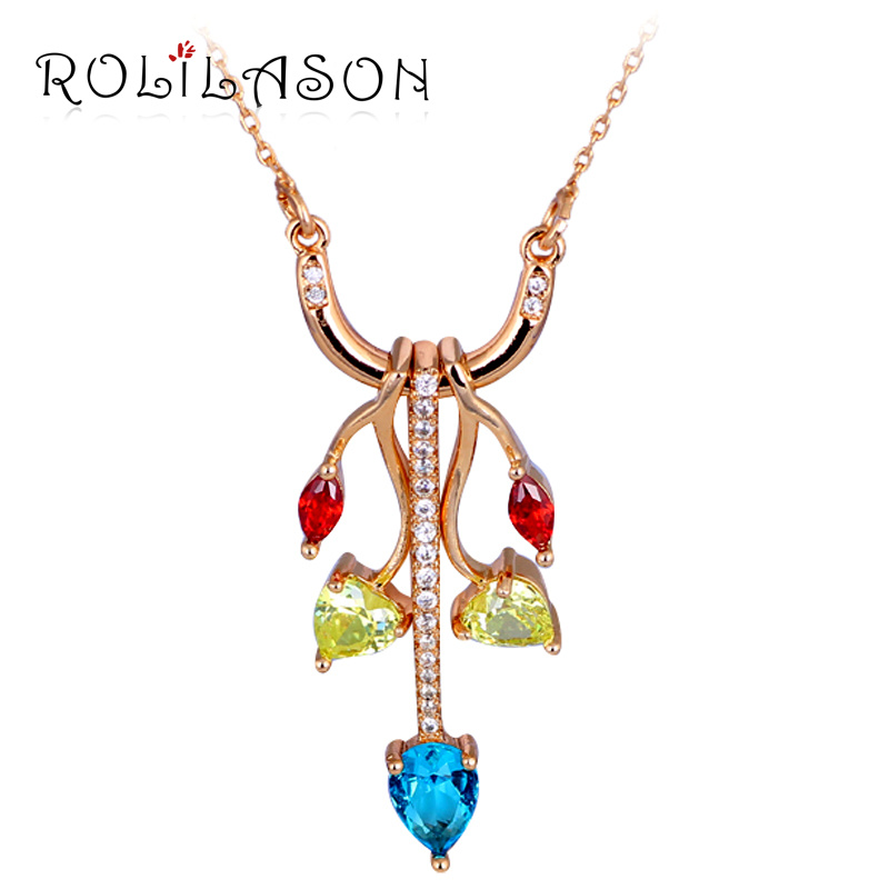 Fantastic Gifts for Lover Color Zirconia gold tone Anniversary Acessories Fashion Jewelry Necklaces Pendants LN563