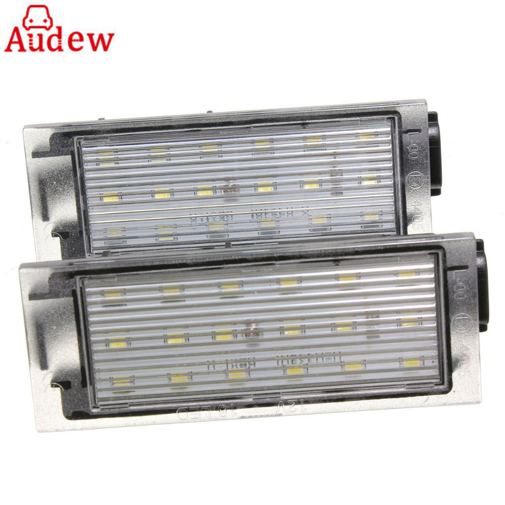 2Pcs Car LED License Plate Light Number Plate Lamp White For Renault/Twingo/Clio/Megane/Lagane Error Free 2pcs 12v white led license plate light number lamp for renault twingo clio megane lagane error free