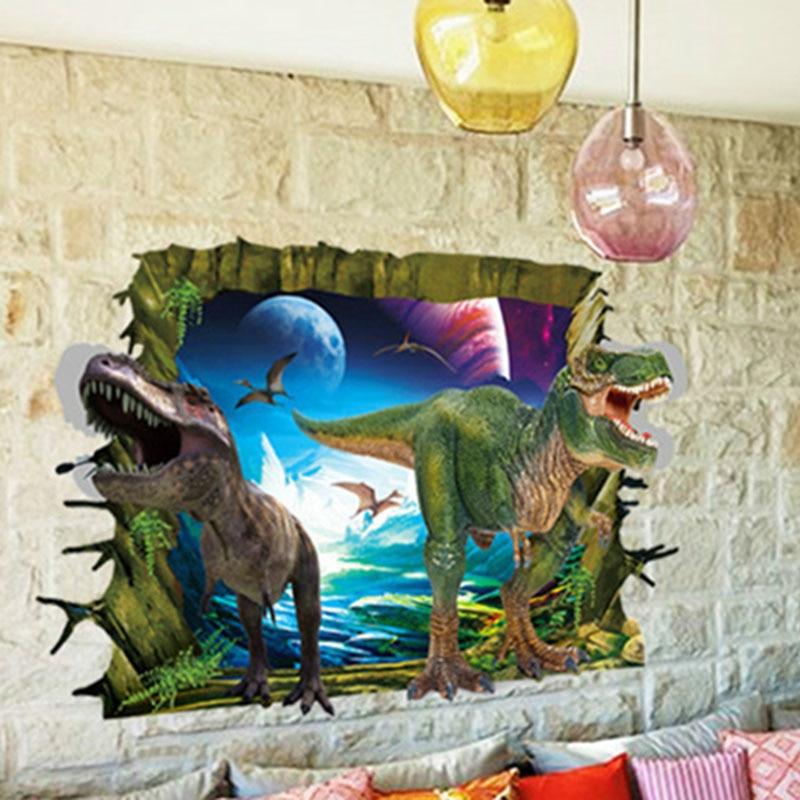 10 տիպեր 3D մուլտեր Dinosaur Vinyl Art Home Wall Sticker - Տնային դեկոր - Լուսանկար 4