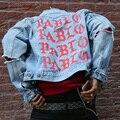 Специальное предложение! KANYE WEST сезон 3 большой ПАБЛО Классический пальто мотоцикл Куртки Мужчины Женщины изношенные разбитое отверстие джинсовые куртки